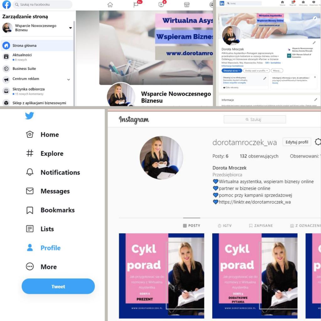 Jakie zadania wykonuje wirtualna asystentka - co robię dla moich klientów social media linkedin facebook twitter instagram prowadzenie konta planowanie postów